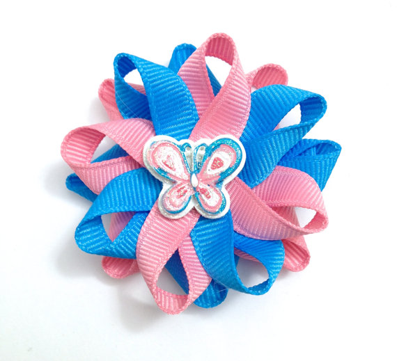 blue rose butterfly hair bows