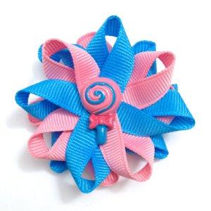 blue rose lollipop hair bows