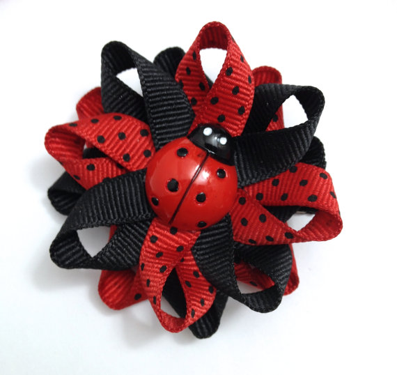 black red ladybug hair bows