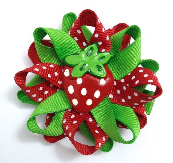 red Strawberry fruit Hair Bows