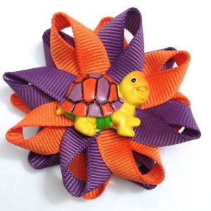 orange purple turtle hair bows
