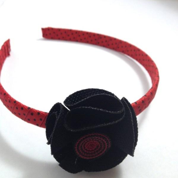 Black Fabric Flower Headband
