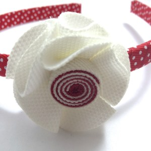 White Fabric Flower Headband