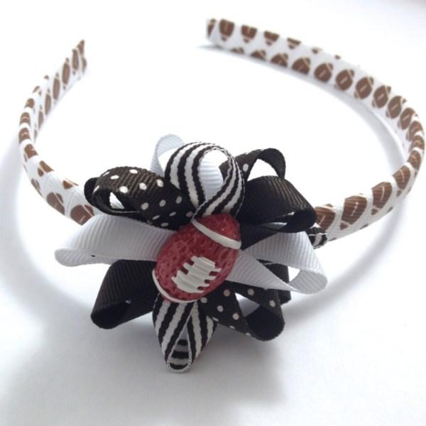 Football Hair Bow Headband