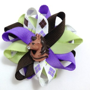 brown purple Argyle Horse Hair Bows