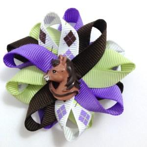 brown purple Argyle Horse Hair Bows
