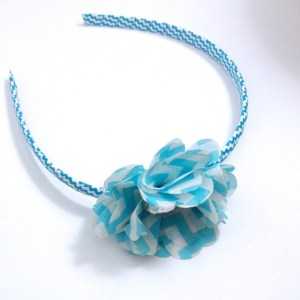 Light Blue Chevron Stripe Flower Headband