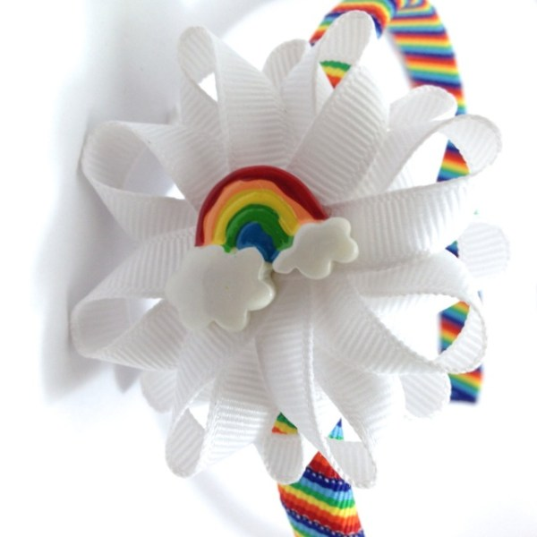 Rainbow Hair Bow Headband