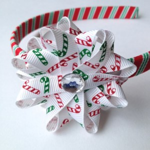 Candy Cane Stripe Hair Bow Headband