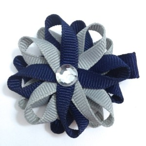 Navy Blue Millennium Silver Hair Bows