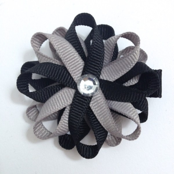 Black Silver loopy Hair Bows