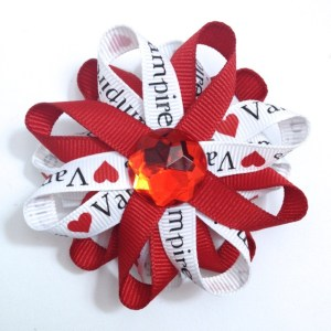 red Vampires loopy Hair Bows