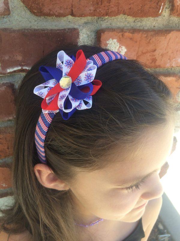 Fireworks American Flag Hair Bow Headband