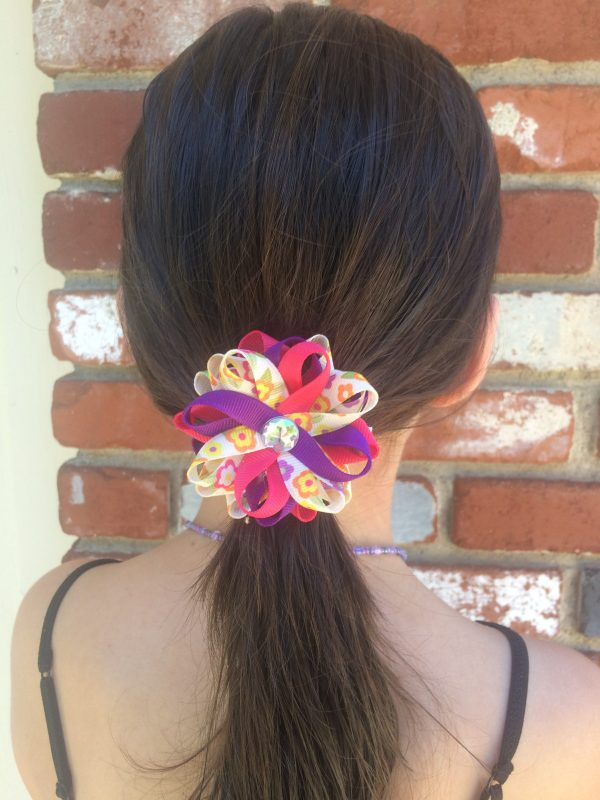 pink purple flower hair bow