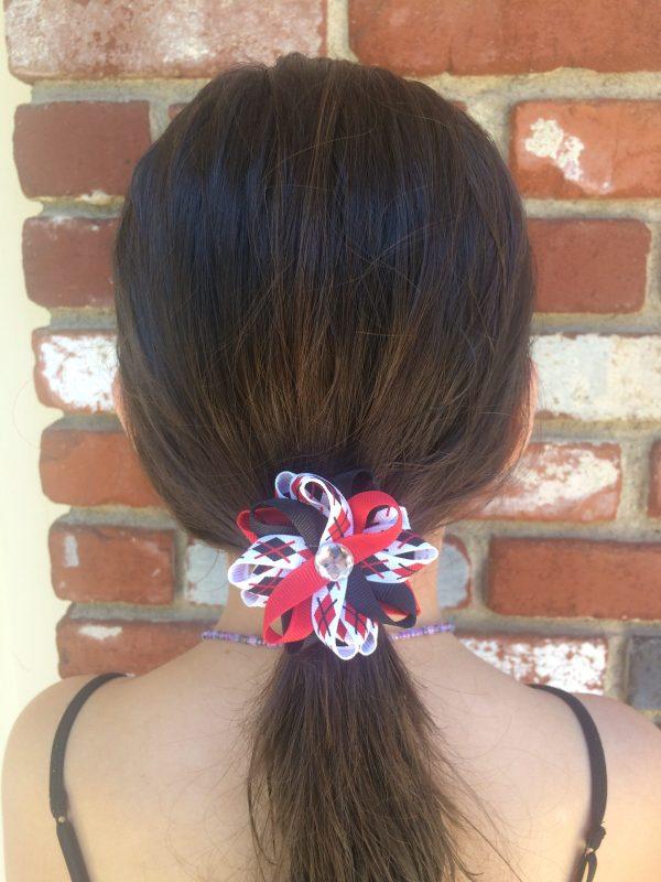 red black plaid hair bow