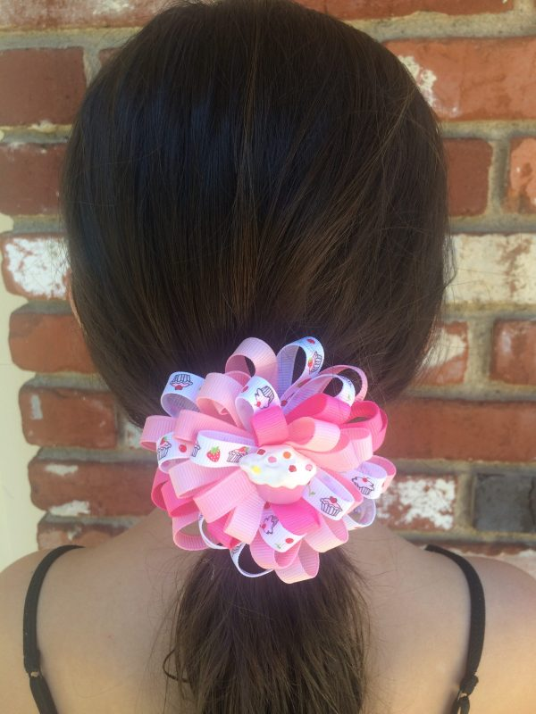 Pink Cupcake Loopy Hair Bow