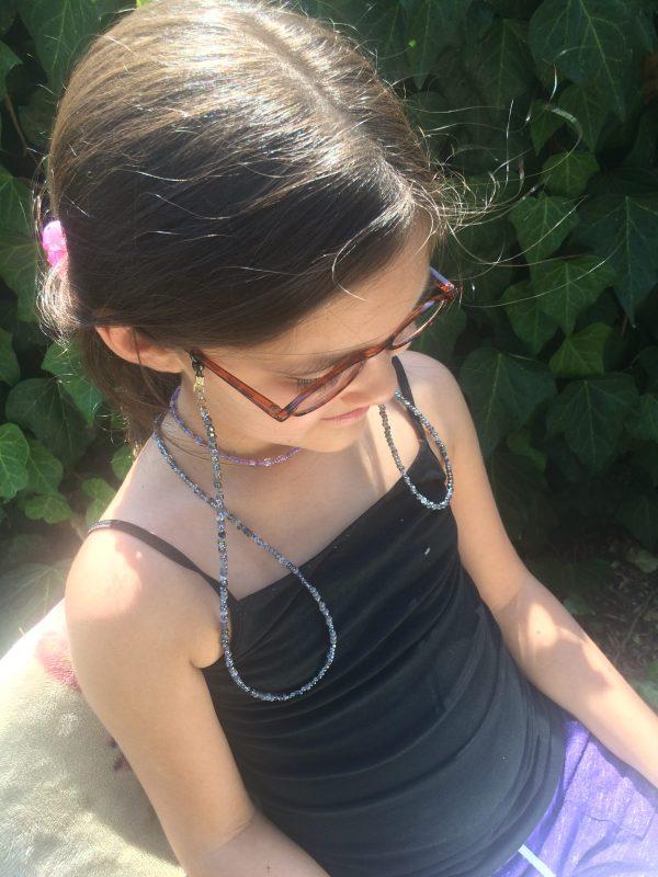 black grey beaded eyeglass holder