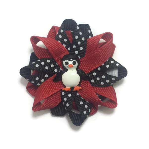 red black penguin hair bows