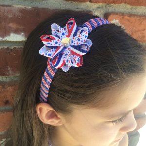 Stars Stripes American Flag Hair Bow Headband