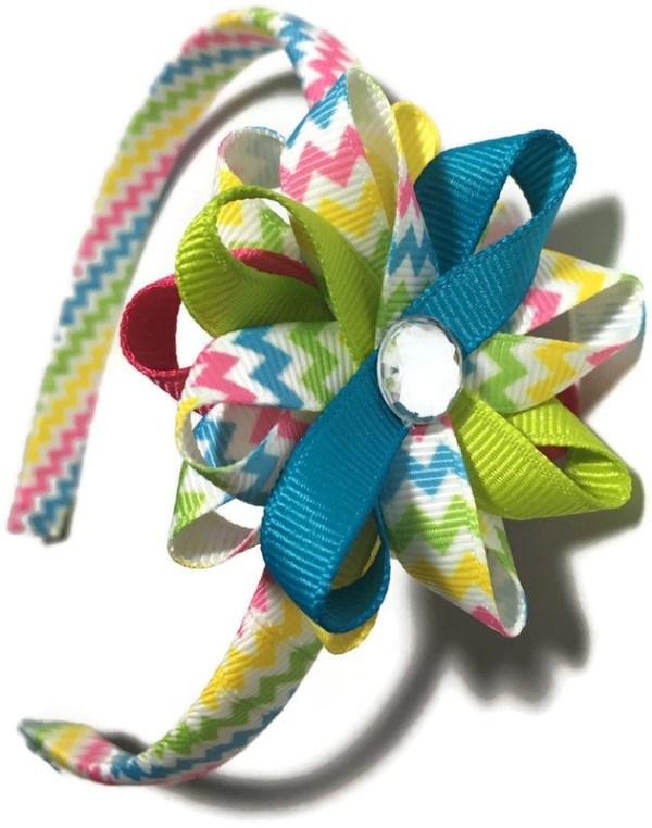 bright stripes hair bow headband