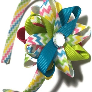 bright stripes hair bow headband