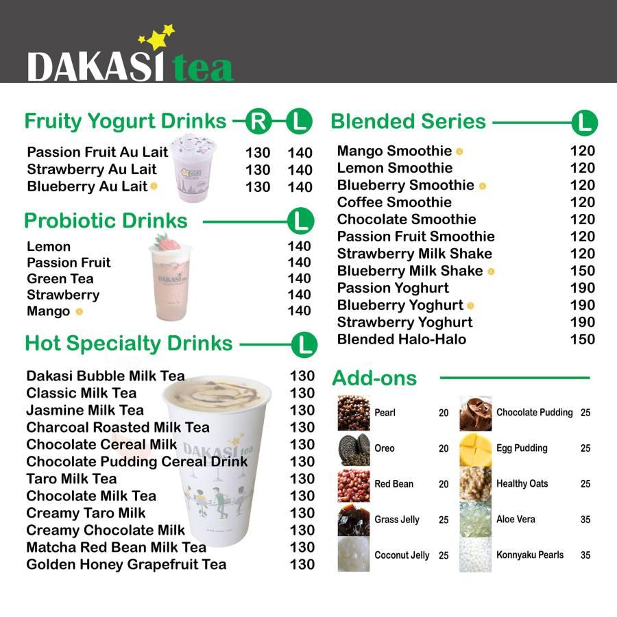 Dakasi Philippines Updated Menu