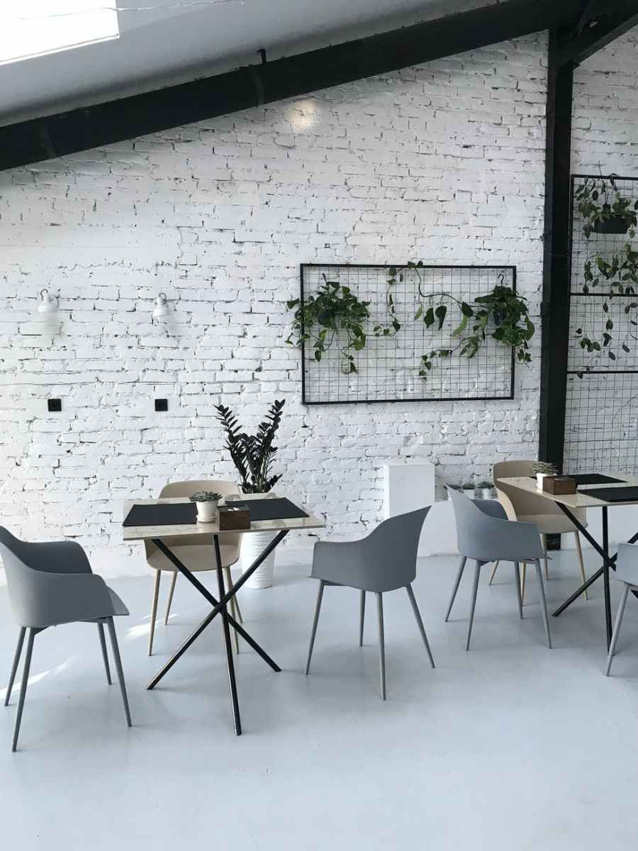 chairs and tables inside a room