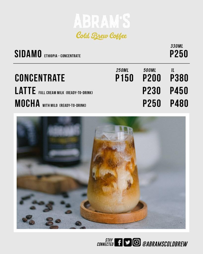 Abram's Cold Brew Coffee Menu