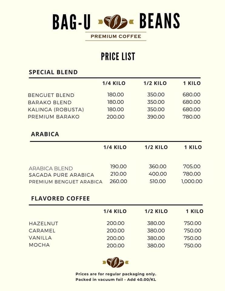 Bag-U Beans Premium Coffee Menu