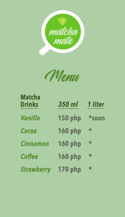 Matcha Mate New Menu