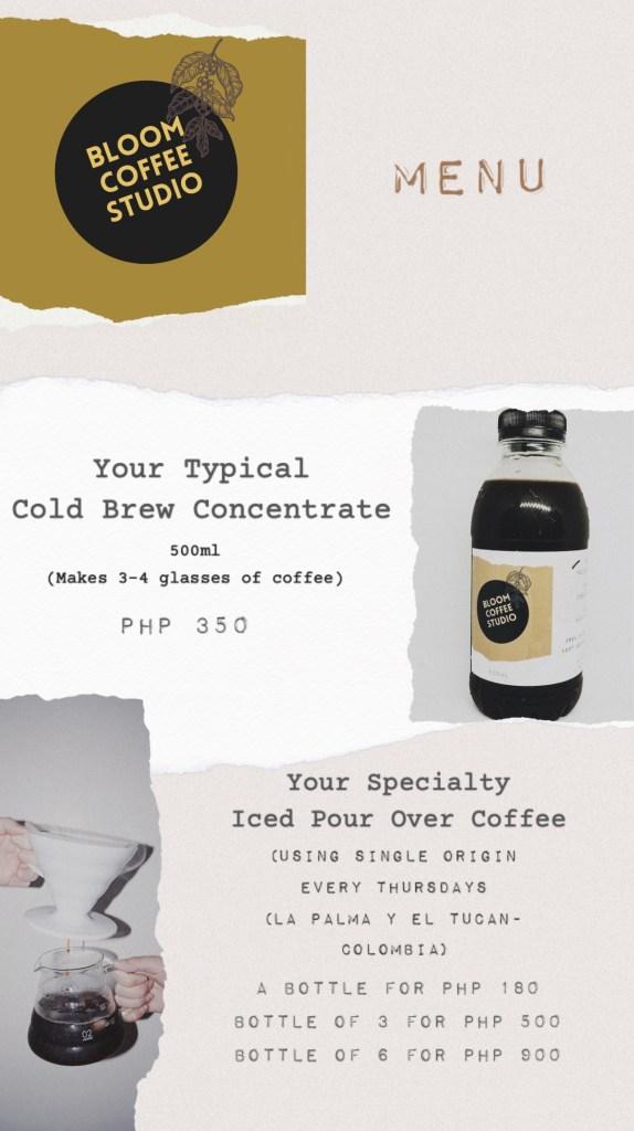 Bloom Coffee Studio Menu