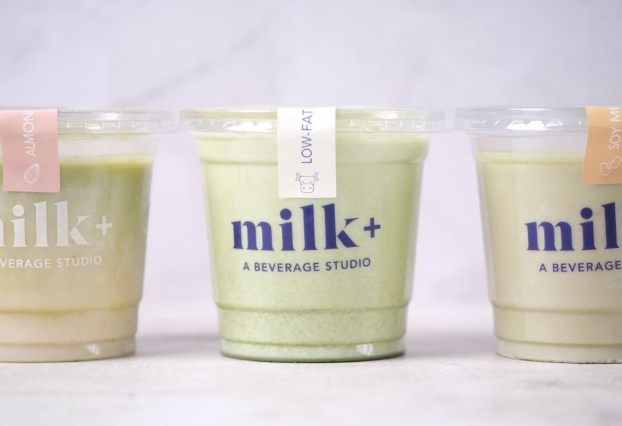 three matchas Milk Plus Studio