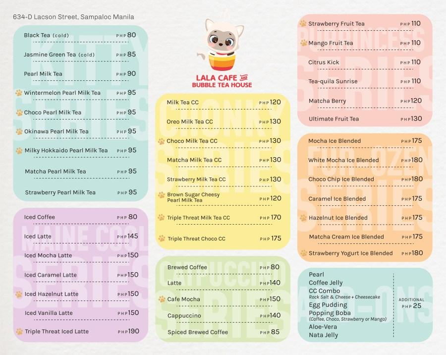 Lala Cafe and Bubble Tea House Menu
