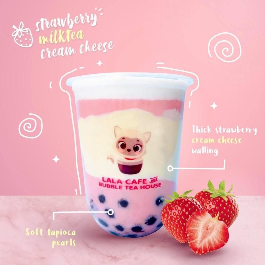 Lala Cafe and Bubble Tea House Strawberry Milk Tea