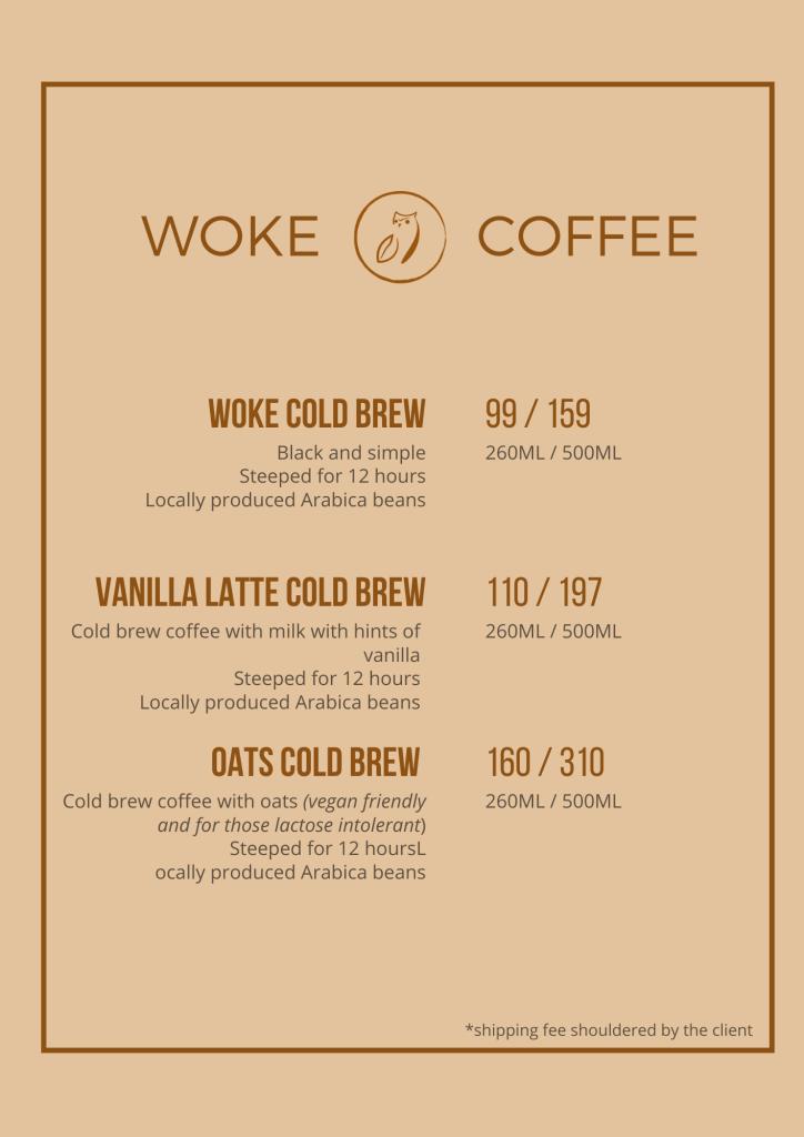 Woke Coffee Cold Brew Menu
