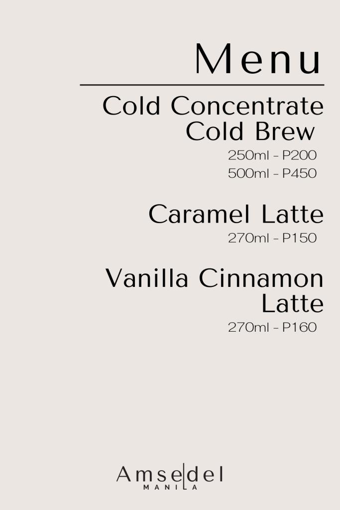 Amsedel Cold Brew Menu