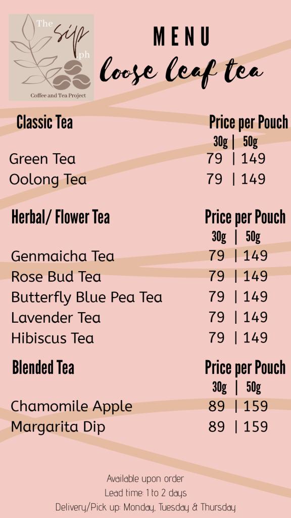 The Sip.ph Tea Menu