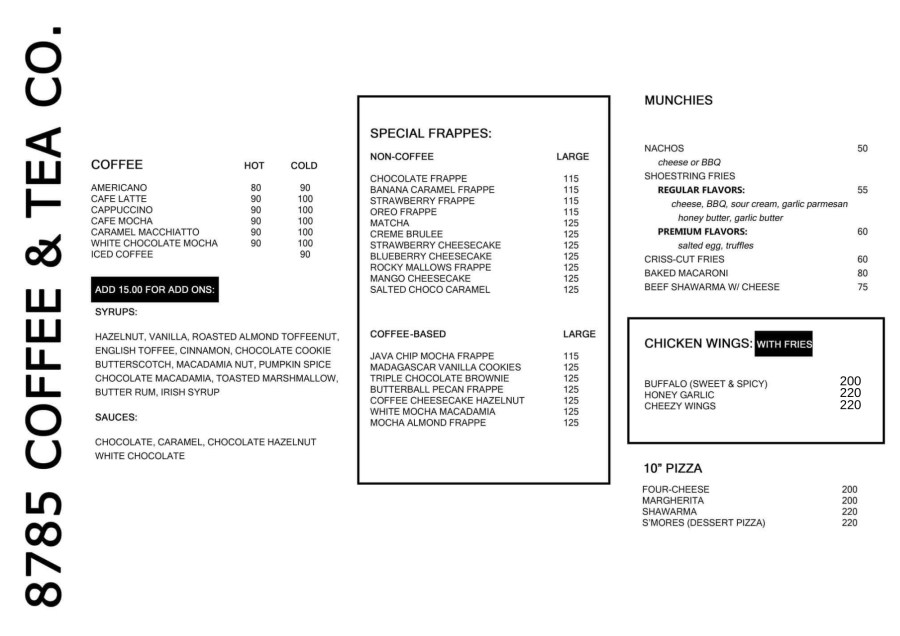 8785 Coffee & Tea Co. Food Menu