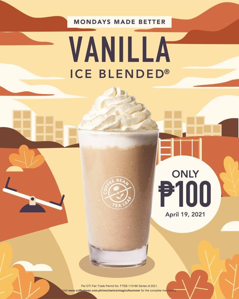 Coffee Bean & Tea Leaf Monday Promo P100 Vanilla Ice Blended
