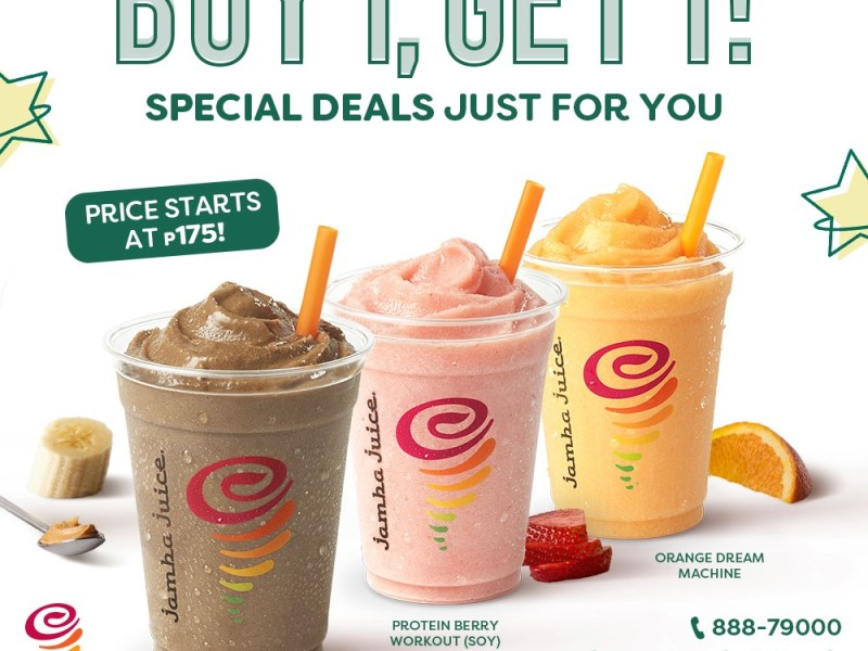 Jamba Juice Buy 1 Get 1 for as low as 175 pesos
