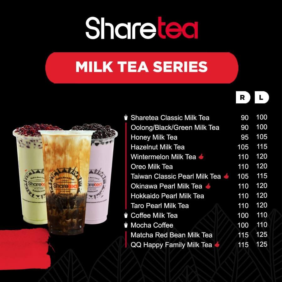 Sharetea Menu Milk Tea Series