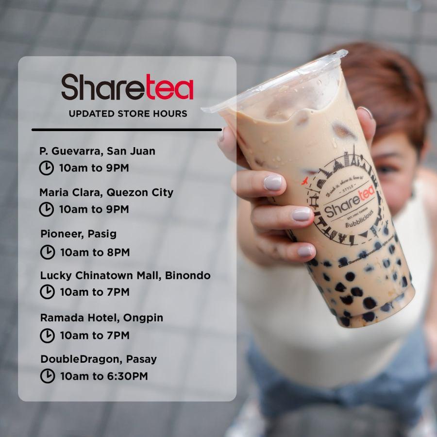 Sharetea Updated Store Hours