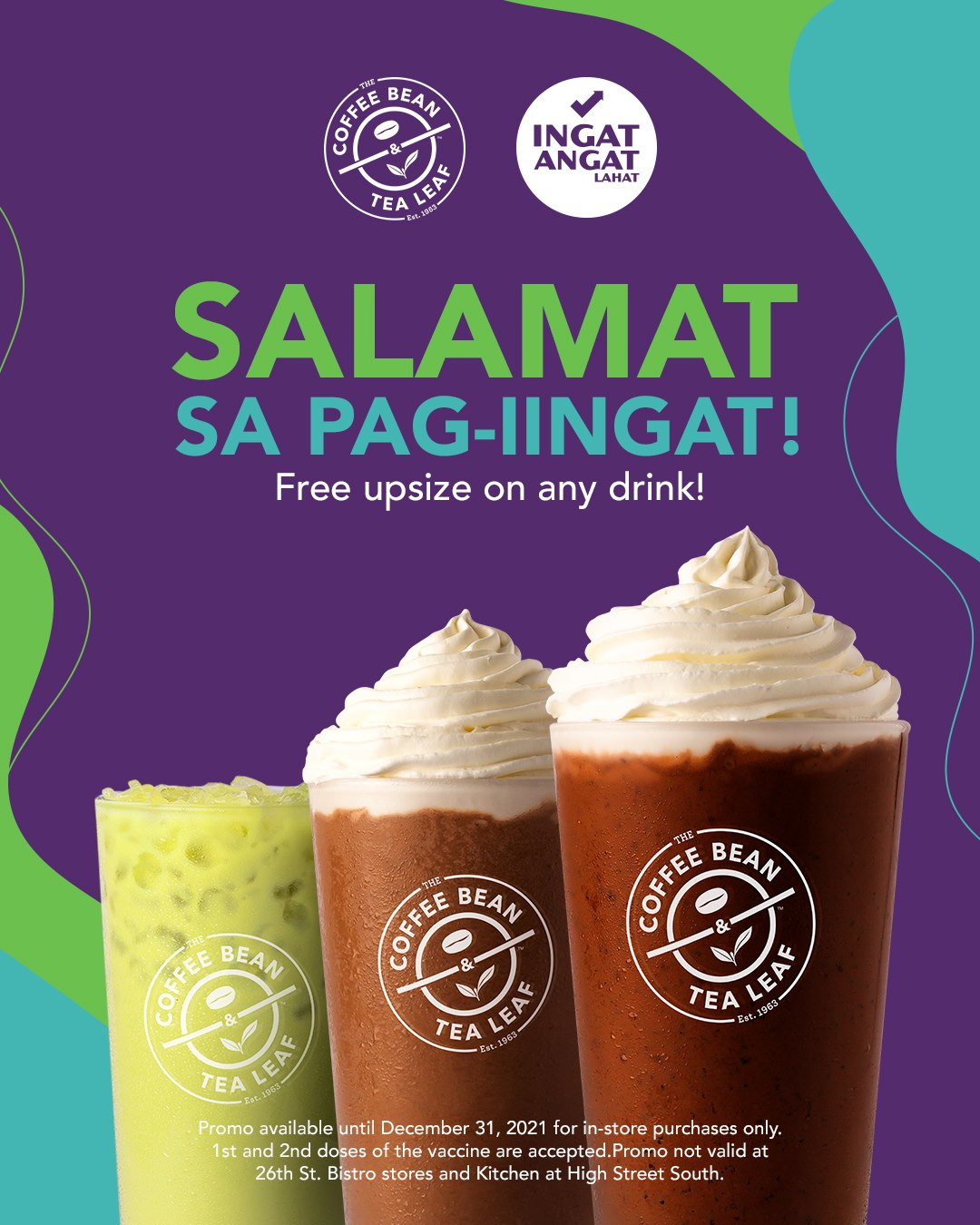 CBTL Promo Free Upsize on any Drink when you show your Covid 19 Vaccination Card