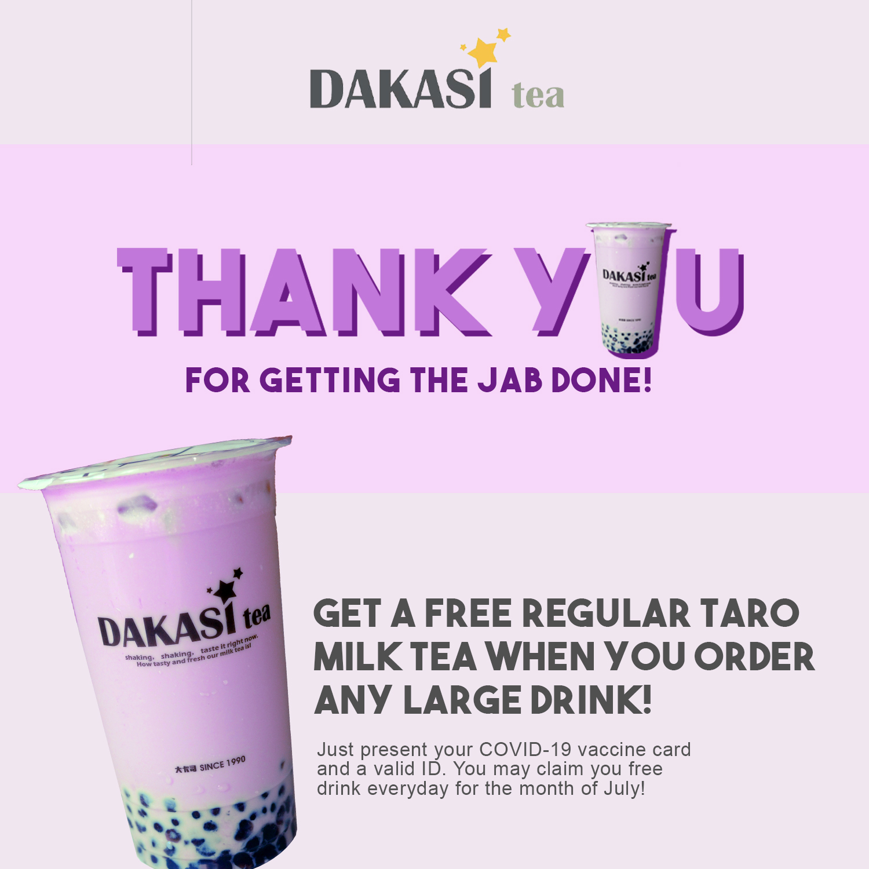 Dakasi Philippines Promo Free Regular Taro Milk Tea