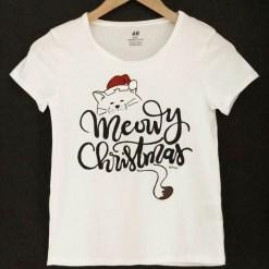 Tricou pentru fete pictat manual cu Meowy Christmas