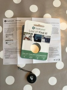 TrackR device with instructions.