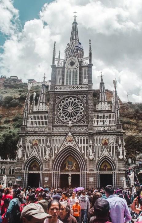 Colombian church | ipiales church El Santuario de Las Lajas Easter Sunday busy crowds colombia travel blog guide