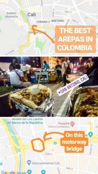 Best arepas in Cali motorway highway bridge Old Town San Antonio street stall where to eat Cali Colombia