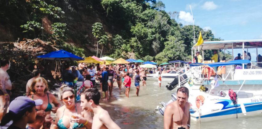 Crowded overtourism in Brazil at Praia dos Carneiros tour north-east