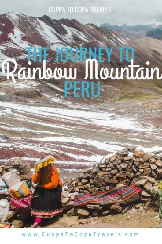 Hiking Rainbow Mountain trail Cusco Peru tour